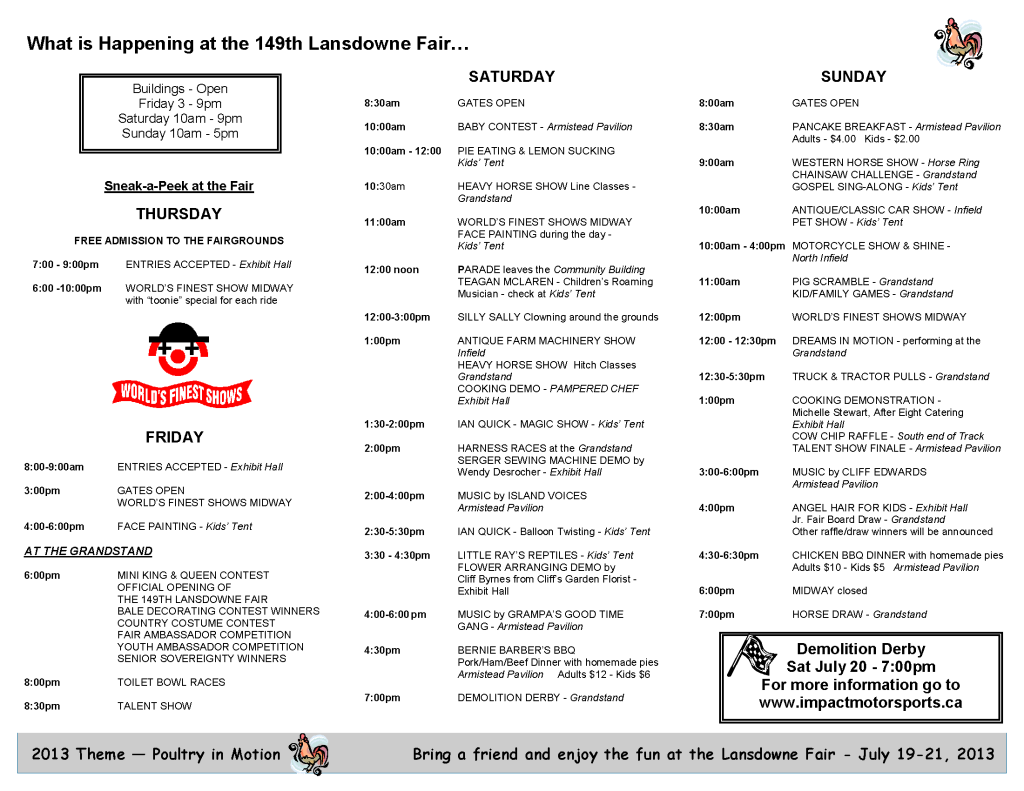 lansdowne fair schedule program