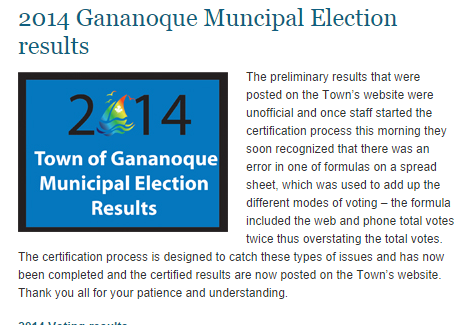 gananoque election council mayor
