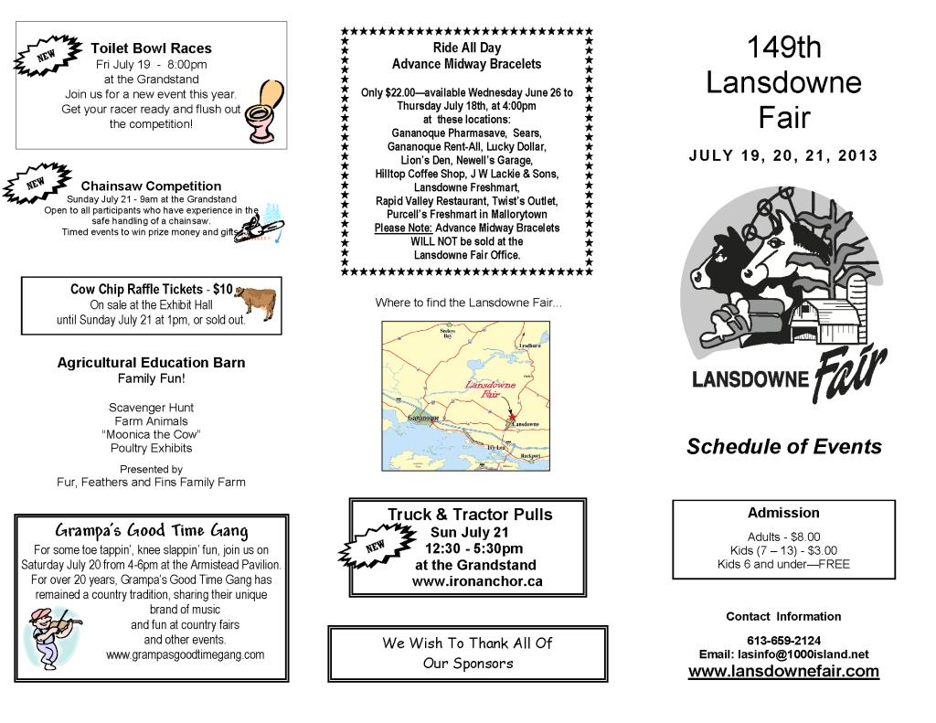 lasdown lansdown fair schedule events 2013
