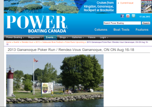2013 Gananoque Poker Run / Rendez-Vous Gananoque, ON ON Aug 16-18